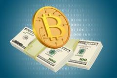 Bitcoin en usd dollars bedrijfsconcepten Stock Fotografie