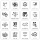 Bitcoin en van Blockchain Cryptocurrency Pictogrammen Royalty-vrije Stock Foto