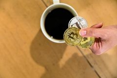 Bitcoin Encrypted money virtual money Exchange Speculate Future. Coffee Exchange Royalty Free Stock Images
