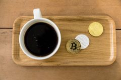Bitcoin Encrypted money virtual money Exchange Speculate Future. Coffee money Stock Photo