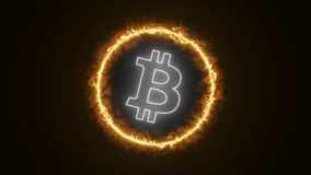 Bitcoin Energy Logo. Bitcoin Energy Simple Minimalist Glowing Logo Symbol Royalty Free Stock Image