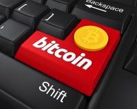 Bitcoin entrent dans le bouton Photographie stock