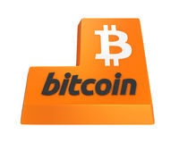 Bitcoin entrent dans le bouton d'isolement Images libres de droits