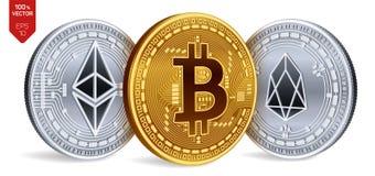 Bitcoin EOS Ethereum равновеликие физические монетки 3D Валюта цифров Cryptocurrency Золотой и серебряная монета с Bitcoin, Eos a Стоковое фото RF