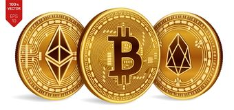 Bitcoin EOS Ethereum moedas 3D físicas isométricas Moeda de Digitas Cryptocurrency Moedas douradas com Bitcoin, Eos e Ethereum Imagens de Stock Royalty Free