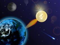 Bitcoin es de rápido crecimiento La moneda Crypto se está rompiendo en concepto del espacio libre illustration