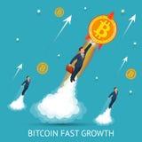 Bitcoin es de rápido crecimiento Moneda de Digitaces, concepto mundial de la red de la tecnología libre illustration