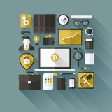 Bitcoin essentials. Flat vector design elements royalty free illustration