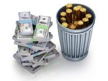 Bitcoin está fallando como concepto de la moneda 3d Imagen de archivo libre de regalías