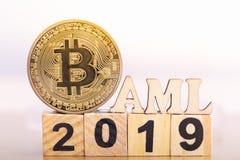 Bitcoin et anti blanchiment d'argent images libres de droits
