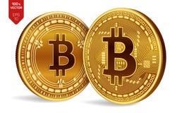 Bitcoin et argent liquide de Bitcoin pièces de monnaie 3D physiques isométriques Devise de Digital Cryptocurrency Pièces de monna illustration libre de droits