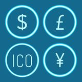 Bitcoin et Chinois Yen Dollar Icons Set Vector illustration stock