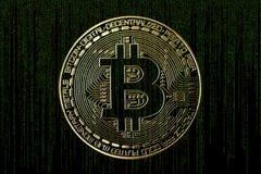 Bitcoin et code de matrice photos stock