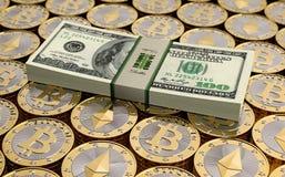 Bitcoin et Ethereum - argent virtuel Photos stock