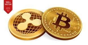 Bitcoin et ondulation pièces de monnaie 3D physiques isométriques Devise de Digital Cryptocurrency Pièces de monnaie d'or avec le illustration libre de droits