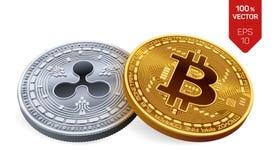 Bitcoin et ondulation pièces de monnaie 3D physiques isométriques Devise de Digital Cryptocurrency Pièce en argent avec le symbol illustration libre de droits