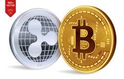 Bitcoin et ondulation pièces de monnaie 3D physiques isométriques Devise de Digital Cryptocurrency Pièce en argent avec le symbol illustration stock