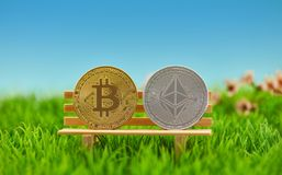 Bitcoin et pièce de monnaie d'éther sur la banque en nature photos stock