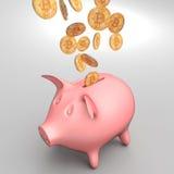 Bitcoin et tirelire Image stock