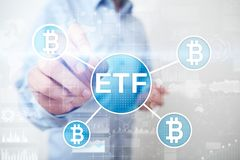 Bitcoin ETF, Exchange traded fund and cryptocurrencies concept on virtual screen. Bitcoin ETF, Exchange traded fund and cryptocurrencies concept on virtual royalty free stock photo