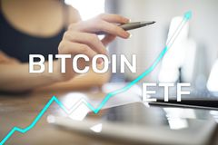 Bitcoin ETF, Exchange traded fund and cryptocurrencies concept on virtual screen. Bitcoin ETF, Exchange traded fund and cryptocurrencies concept on virtual royalty free stock image