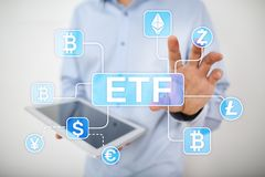 Bitcoin ETF. Exchange traded fund and cryptocurrency concept on virtual screen. royalty free stock images