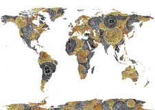 Bitcoin and ethereum background world map as concept of  global. Cryptocurrency on white Stock Photography