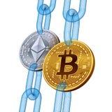 Bitcoin Ethereum Cryptocurrency Blockchain Χρυσό bitcoin και ασημένια νομίσματα Ethereum με την αλυσίδα wireframe τρισδιάστατο is ελεύθερη απεικόνιση δικαιώματος