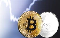 Bitcoin and ethereum logos. Bitcoin and ethereum cryptocurrency logos royalty free stock photos