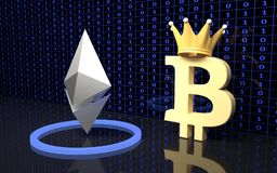 Bitcoin and Ethereum currency signs. Royalty Free Stock Images