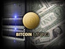 Bitcoin, ethereum del litecoin en la PC en el cuarto del servidor, monedas de oro, espacio de la copia, datacenter, dólares Conce Imagen de archivo