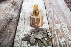 Bitcoin, ethereum do litecoin e moedas velhas, moedas de ouro Conceito de Cryptocurrency: cresça ou caia Fundo de madeira do vint Imagens de Stock Royalty Free