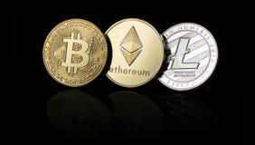 Bitcoin, Ethereum, Litecoin cryptocurrency, cyfrowy pieniądze zdjęcia stock