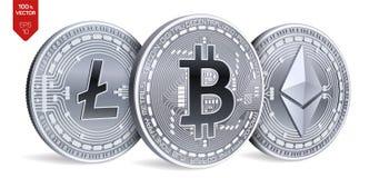 Bitcoin Ethereum Litecoin moedas 3D físicas isométricas Moeda de Digitas Cryptocurrency Moedas de prata com bitcoin, litecoin Foto de Stock Royalty Free