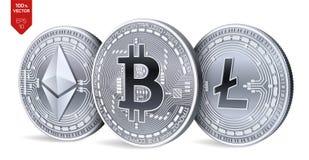 Bitcoin Ethereum Litecoin moedas 3D físicas isométricas Moeda de Digitas Cryptocurrency Moedas de prata com bitcoin, litecoin Imagens de Stock