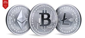 Bitcoin Ethereum Litecoin moedas 3D físicas isométricas Moeda de Digitas Cryptocurrency Moedas de prata com bitcoin, litecoin Fotos de Stock