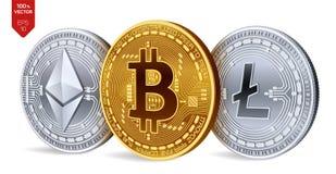 Bitcoin Ethereum Litecoin moedas 3D físicas isométricas Moeda de Digitas Cryptocurrency Moedas de prata e douradas com bitcoin, Fotos de Stock Royalty Free
