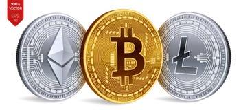 Bitcoin Ethereum Litecoin moedas 3D físicas isométricas Moeda de Digitas Cryptocurrency Moedas de prata e douradas com bitcoin, Fotos de Stock