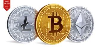 Bitcoin Ethereum Litecoin moedas 3D físicas isométricas Moeda de Digitas Cryptocurrency Moedas de prata e douradas com bitcoin, Fotografia de Stock Royalty Free