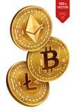 Bitcoin Ethereum Litecoin monedas físicas isométricas 3D Moneda de Digitaces Cryptocurrency Monedas de oro con el bitcoin, liteco ilustración del vector