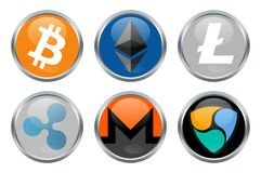 Cryptocurrencies signs. Bitcoin, Ethereum, Litecoin and other cryptocurrencies Royalty Free Stock Images
