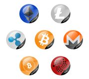 Cryptocurrencies signs. Bitcoin, Ethereum, Litecoin and other cryptocurrencies Royalty Free Stock Photo