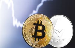 Bitcoin and ethereum logos. Of cryptocurrency stock photo