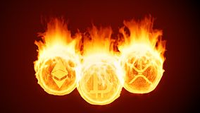 Bitcoin, ethereum and ripple cryptocurrency burning in fire. Red market decline vector illustration