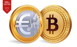 Bitcoin. Euro. 3D isometric Physical coins. Digital currency. Cryptocurrency. Golden coins with Bitcoin and Euro symbol  o. N white background. Vector Stock Images