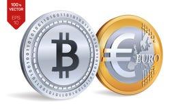 Bitcoin Euro- moedas 3D físicas isométricas Moeda de Digitas Cryptocurrency Moedas douradas e de prata com símbolo de Bitcoin e d Fotos de Stock