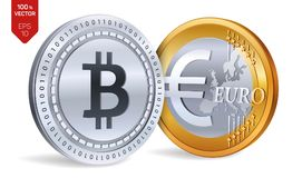 Bitcoin Euro pièce de monnaie pièces de monnaie 3D physiques isométriques Devise de Digital Cryptocurrency Pièces d'or et en arge Illustration de Vecteur