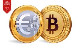 Bitcoin Euro pièces de monnaie 3D physiques isométriques Devise de Digital Cryptocurrency Pièces de monnaie d'or avec Bitcoin et  illustration stock