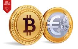Bitcoin Euro pièces de monnaie 3D physiques isométriques Devise de Digital Cryptocurrency Les pièces de monnaie d'or avec Bitcoin illustration stock