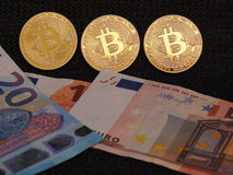 Bitcoin and Euro`s Royalty Free Stock Photography